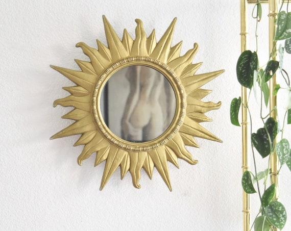 vintage wall hanging gold sun mirror   sunburst garden decor   celestial wall art