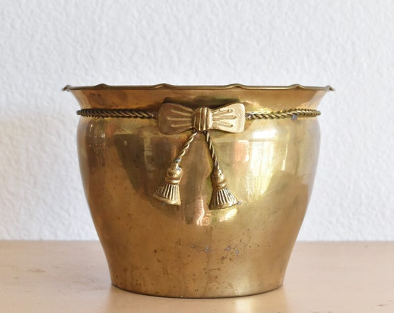 solid brass small hollywood regency indoor flower pot planter | bow ribbon
