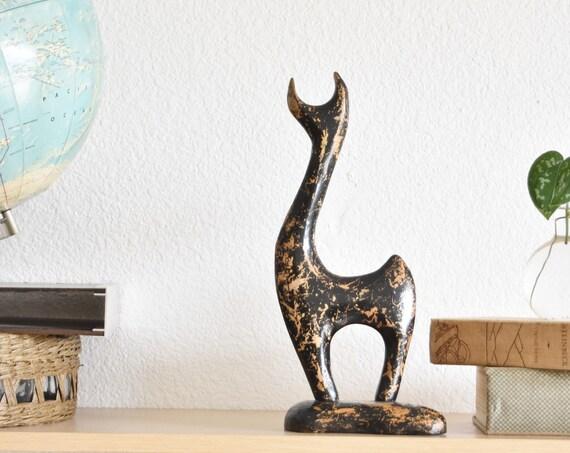 danish mid century modern black wooden deer figurine / reindeer sculpture / scandinavian