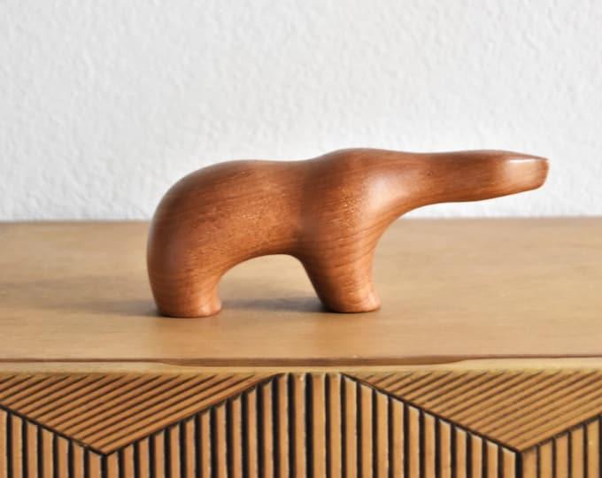 Arne Tjomsland minimalist mid century modern danish scandiavian carved wood bear figurine sculpture | brown bear
