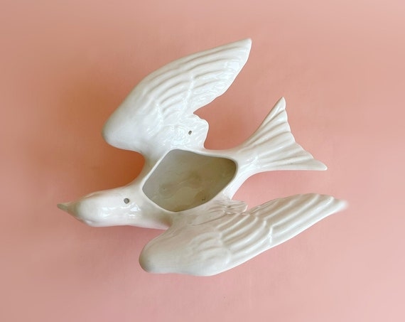 hanging white ceramic bird dove flower planter vase / terrarium