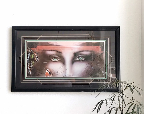 1980s frame vintage green eyes wall hanging lithograph print | optical illusion surreal art | bird lake landscape