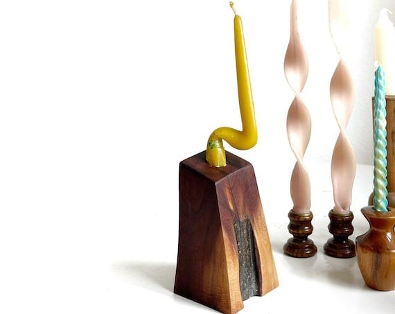 danish mid century modern turned wood block shaped candleholder / candlestick holders
