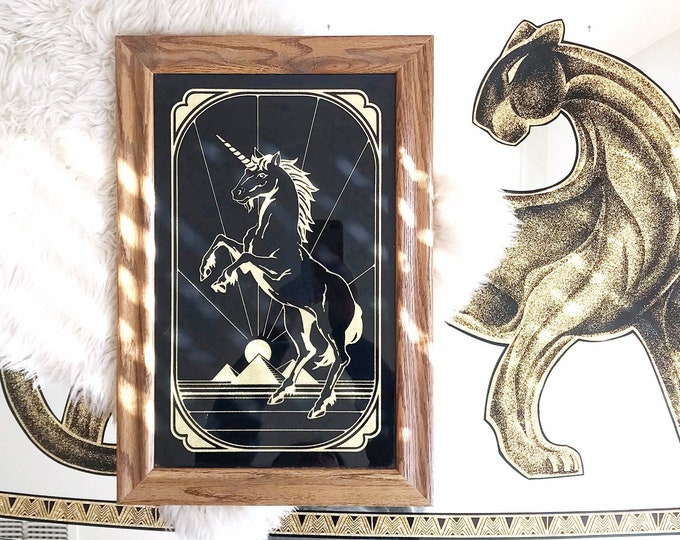 framed gold and black vintage unicorn print / mythical creature picture