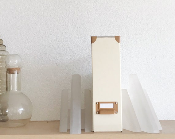 set of 2 white modern geometric bookend set / triangular office book holders