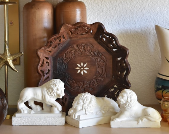white lion sculpture figurine office paperweight / beast / set