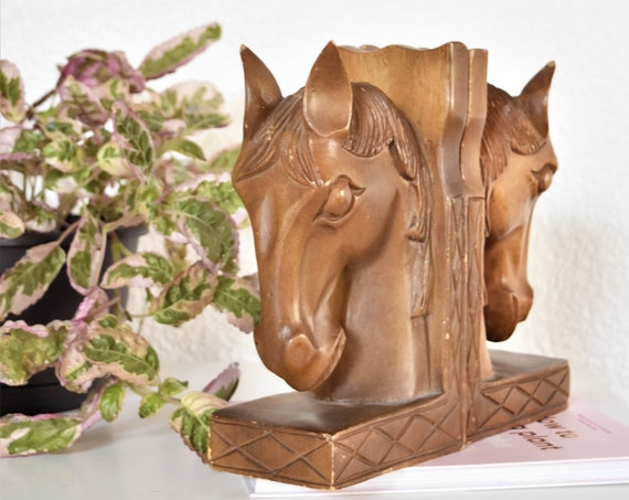 pair of hand carved wooden horse head sculpture bookend set | donkey statue