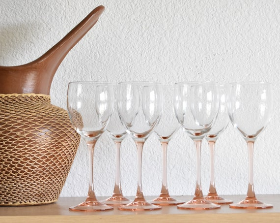 set of 7 pink stemware champagne glasses / barware