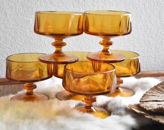 set of 6 amber glass champagne wine glass goblets / depression glass set