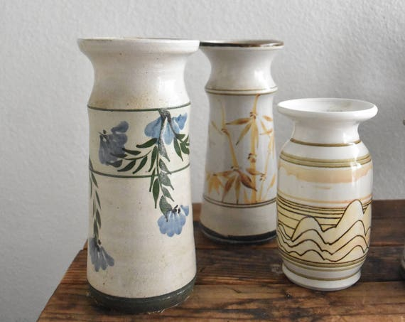 tall blue brown hand painted flower floral stoneware vase / cylinder