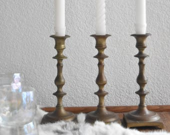 solid brass candlestick holders / hollywood regency / set of 2