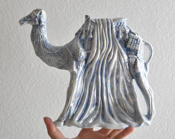 large vintage porcelain iridescent blue white camel figurine sculpture