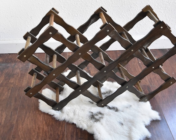 folding vintage accordion wood wine bottle rack / mid century wooden wine holder rack