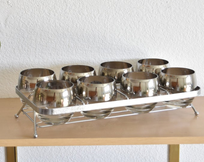 mid century ombre silver rim roly poly cocktail caddy set / madmen style