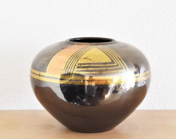decorative geometric mid century modern black brass copper flower vase | india