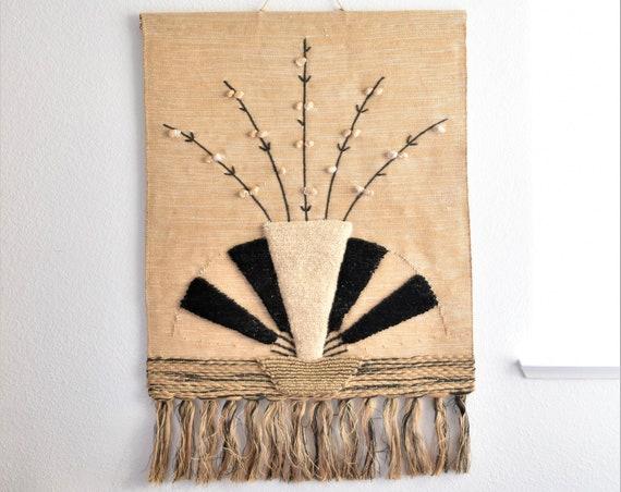 large mid century modern fiber art textile weaving wall hanging woven macrame | flower vase