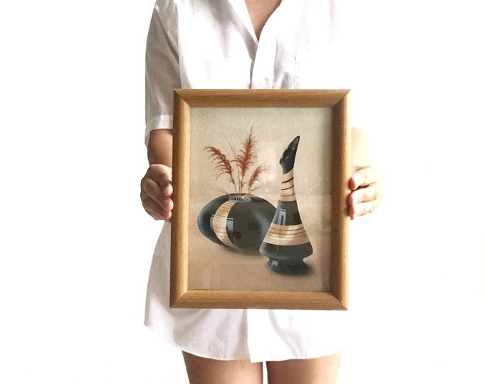 80s vintage framed native american vase flower print | wall hanging art