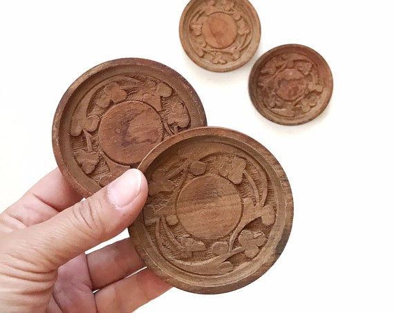 small set of 4 carved wood trivet / boho drink holders