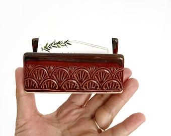 stoneware flower etched office file letter holder / desk top storage business card holder