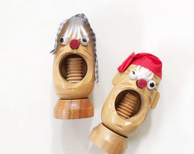 mid century modern danish wood nutcracker / head figurine