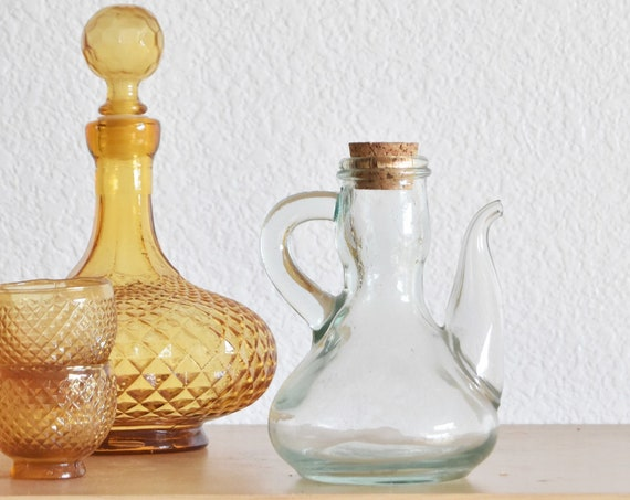 small cork lid glass apothecary pitcher jar with spout / oil herb holder