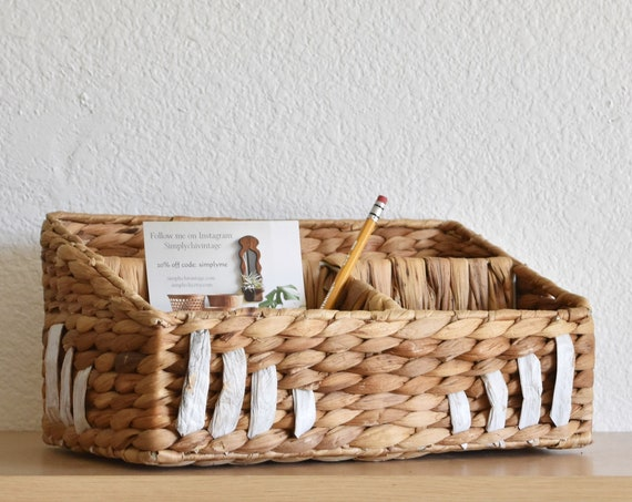 boho woven wicker office file storage / note holder organizer