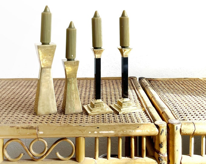 set of 2 mid century modern solid brass candlestick holders