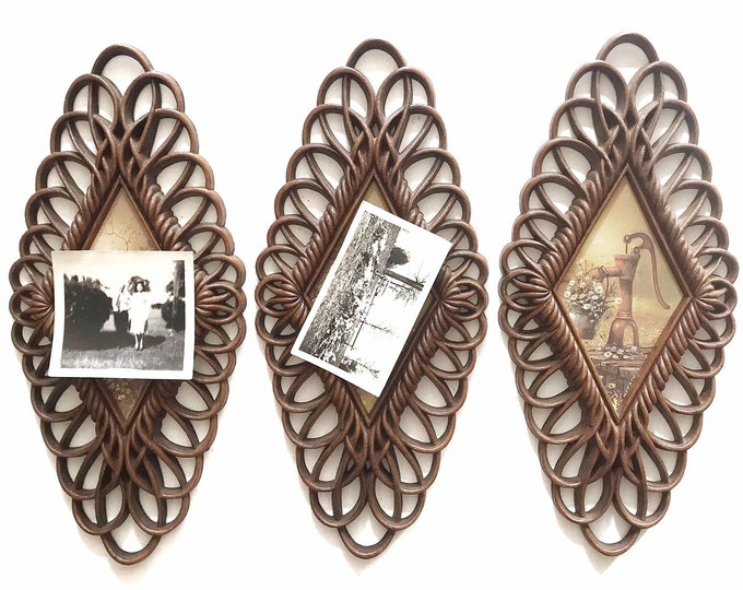 vintage burwood dimensional wall picture frame plaques set of 3