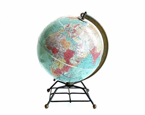 atomic 10 inch blue  vintage replogle world globe on metal stand