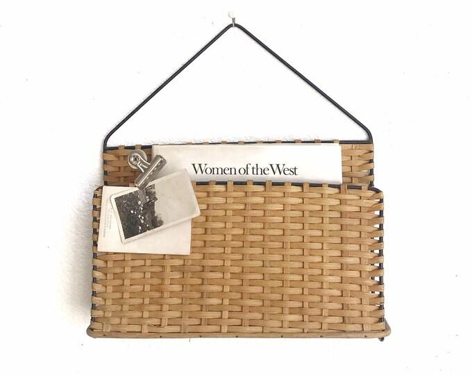 wall hanging woven wicker basket storage holder