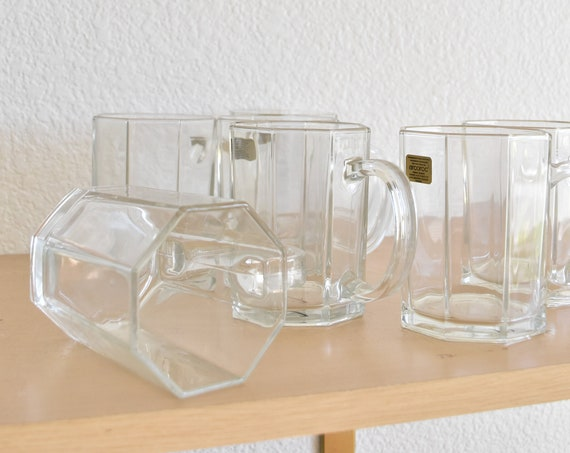 vintage set of 4 clear glass coffee mugs / beer drinking mugs / glassware