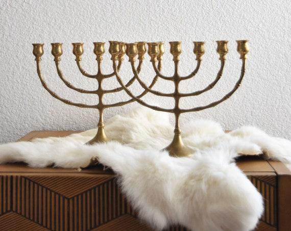 pair of ornate solid brass candelabra menorah / statement candlestick candleholder set of 2