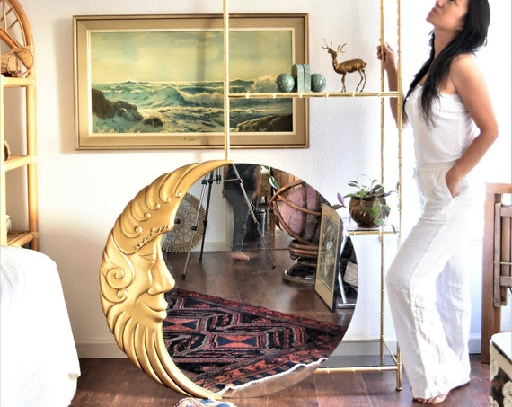 extra large wood gold celestial moon wall hanging mirror / man on the moon sculpture
