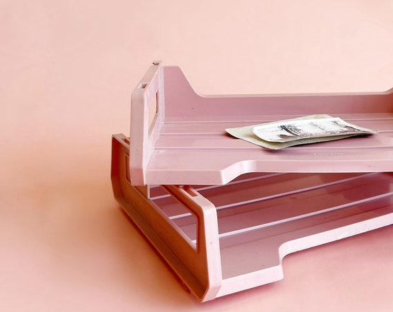 tiered vintage pink office file paper tray