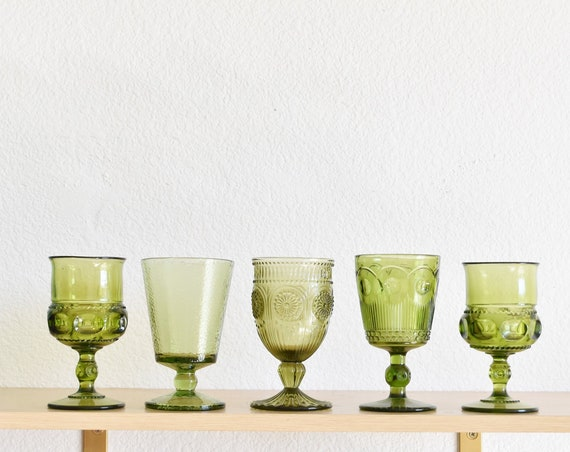 mix collection of green glass champagne wine glass goblets / depression glass set of 5