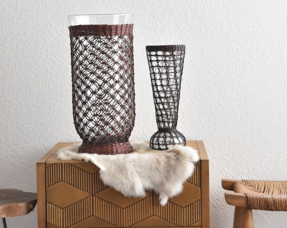 gorgeous tall woven wicker glass vase / flower pot