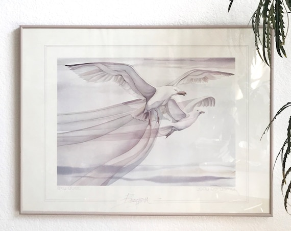 jody bergsma vintage framed flying seagulls painting print | purple sky
