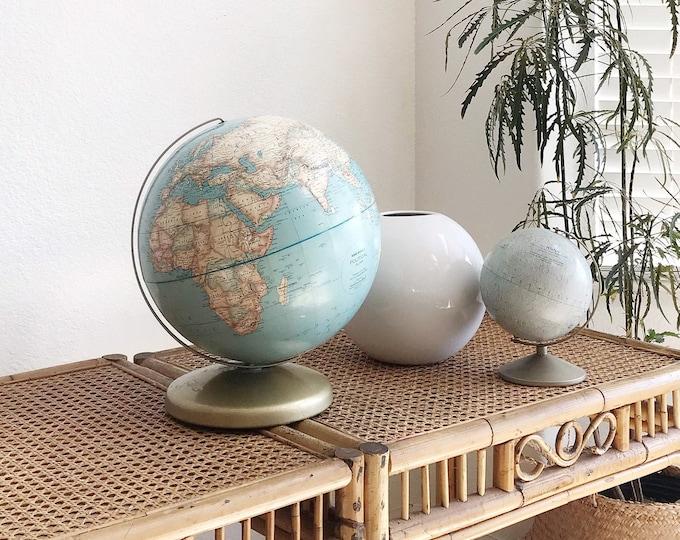 "12"" blue brown vintage Rand McNally world globe / raised relief atlas"