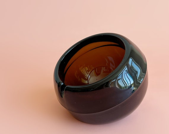 mcm brown viking glass orbit ashtray