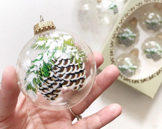 clear krebs glass christmas ball ornaments / set of 2 boxes pine cone snow decoration