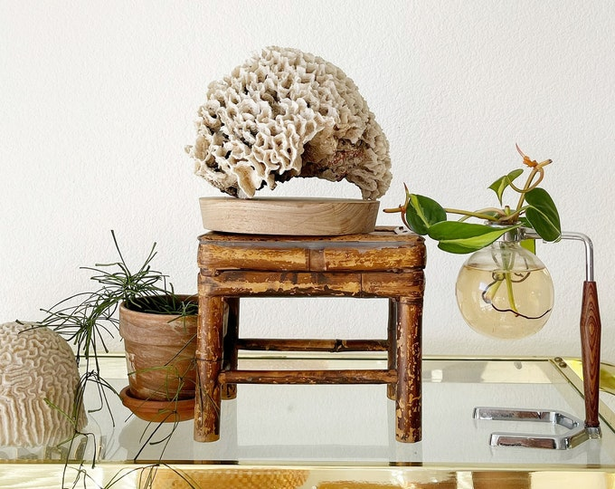 small vintage bamboo wood plant stand