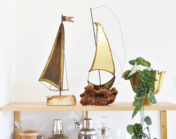 large mid century modern solid brass copper sailboat ship with wood onyx base | jere sculpture