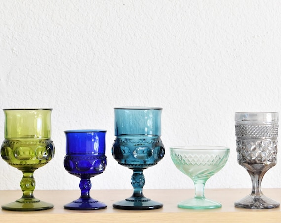 mix collection of 5 ornate blue green glass champagne wine glass goblets / depression glass set