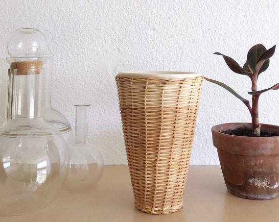 woven wicker ceramic flower pot | boho planter vase
