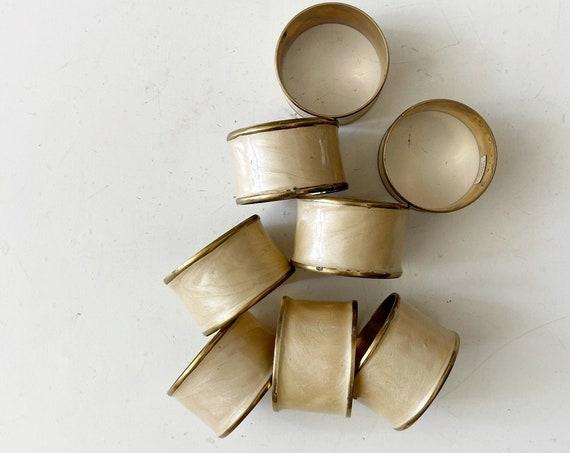 vintage set 8 of hollywood regency solid brass enamel napkin ring holders | beige pearl