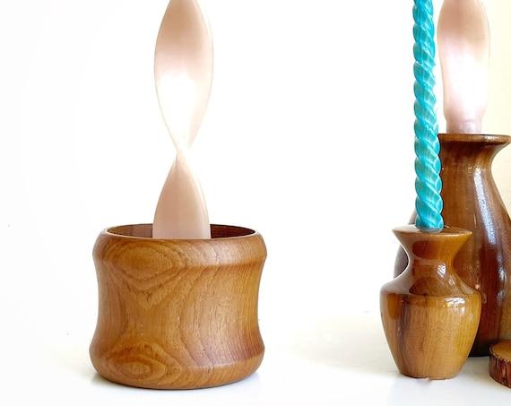 simple danish turned wooden candlestick holder / single candleholder