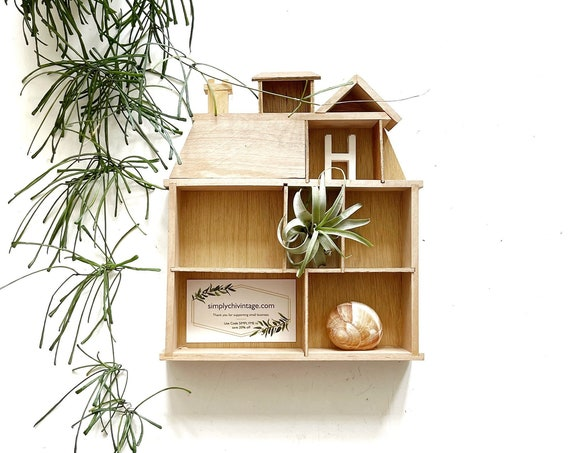 small wood house curio shadow box / wall hanging shelf