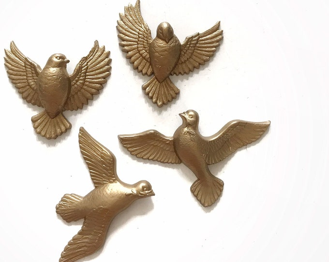 vintage gold dove bird wall hanging ornament decorations | set of 4 birdies