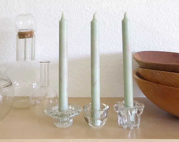 set of 3 mismatch clear glass candlestick holders | tapered candleholders