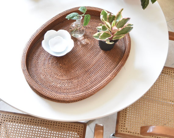 large oval woven rattan wood basket table tray with handles / modern farmhouse decor